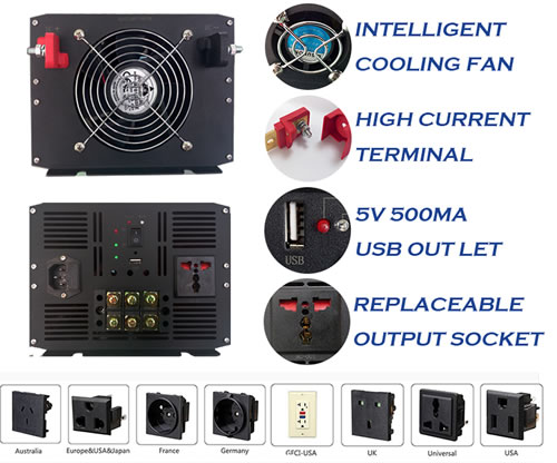 6000W UPS Pure Sine Wave Power Inverter with battery charger